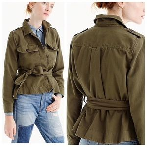 J. Crew Cropped Fatigue Jacket Size Small Green